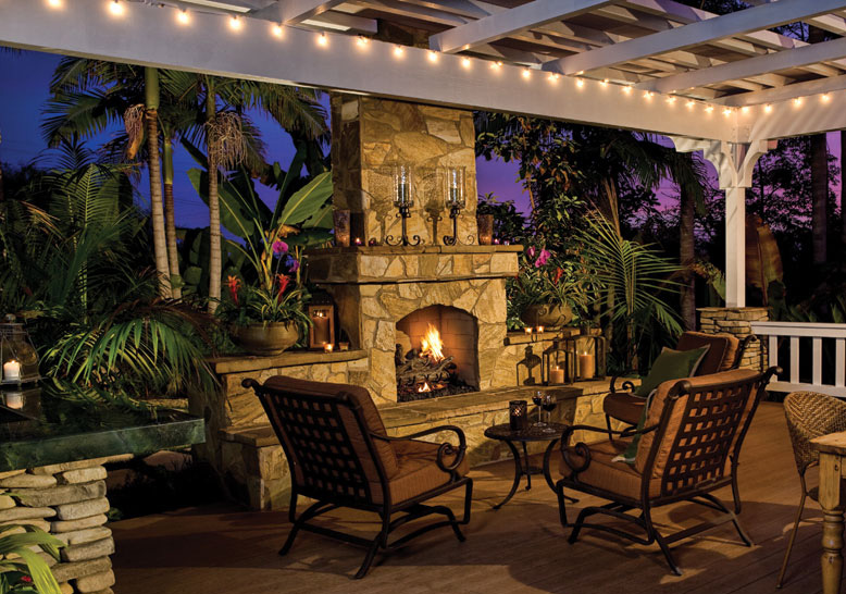 An outdoor fireplace extends the use of your outdoor space